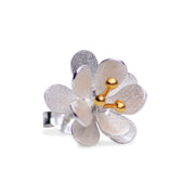 Floral Earrings in Matte Sterling Silver & 18K Gold Plating