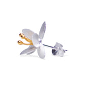Graceful Botanical Earrings Matte Sterling Silver & 18K Gold Plating