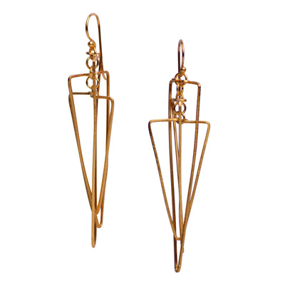 Art Deco Dangle Earrings in Matte 18K Yellow Gold Plating