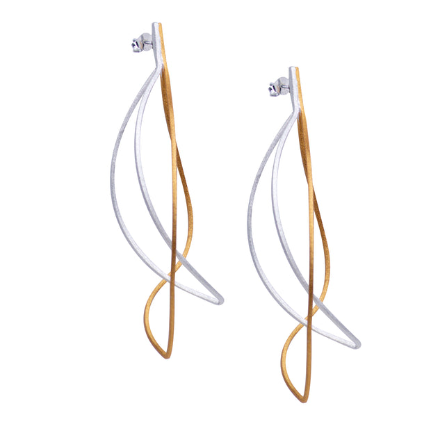 Abstract Designer Drop Earrings in Matte Finish 18K Gold Plating