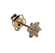14K Yellow Gold Flower Shaped Post Earrings with 14 Clear CZ Stones