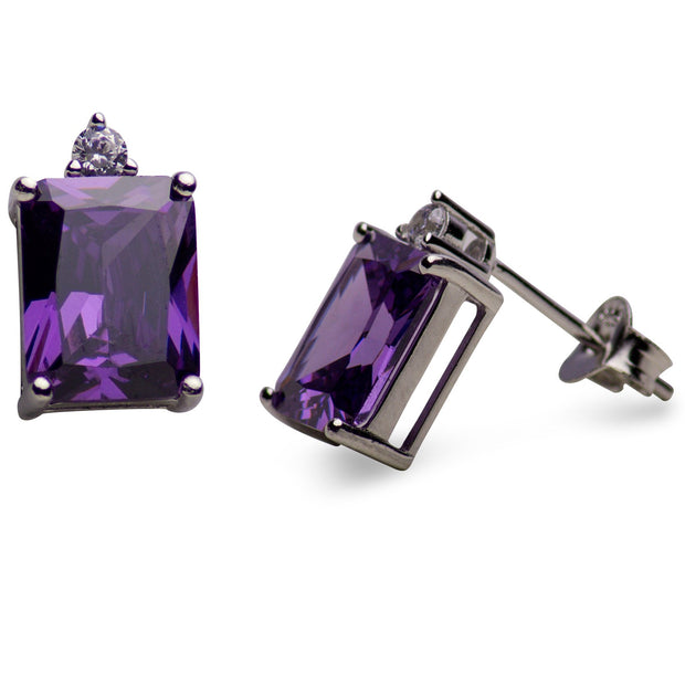 5.24 TCW Sterling Silver Rectangular Synthetic Amethyst Stud Earrings