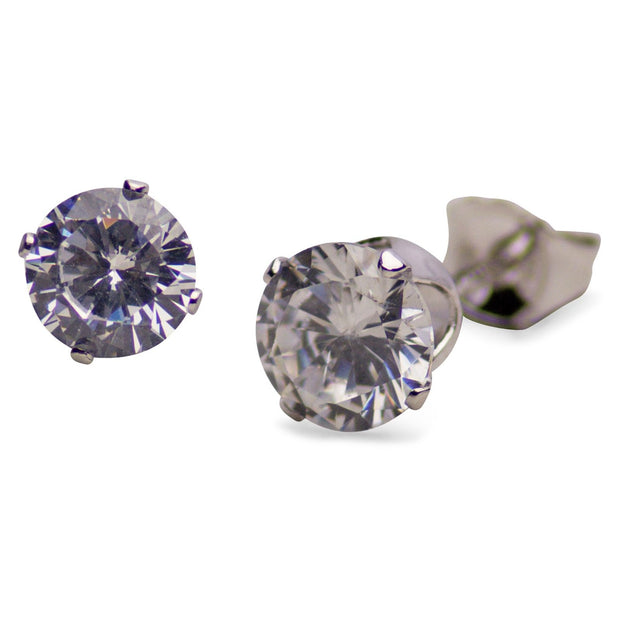Sterling Silver 3.0 TCW Cubic Zirconia Round Stud Earrings