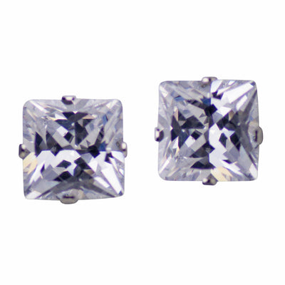 6.02TCW Sterling Silver 8mm Princess Cut CZ Square Stud Earrings