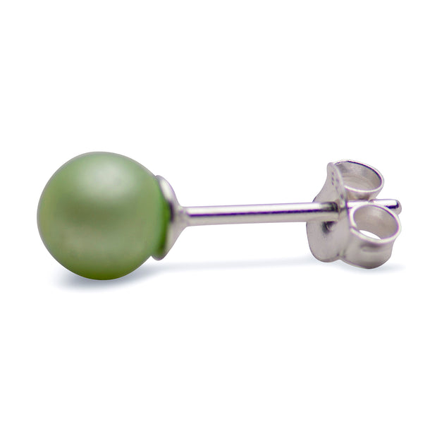 The round shaped pearls measure approximately 6 mm and have a push back backing.