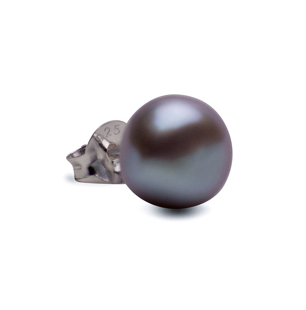8 mm Brilliant Grey South Seas Lustrous Cultured Pearl Earrings