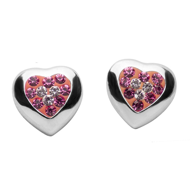 Pink & Clear Crystal Heart Sterling Silver Post Earrings