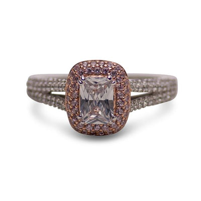 14K Rose Gold Plated Sterling Silver 1.06 Carat Clear & Pink CZ Ring