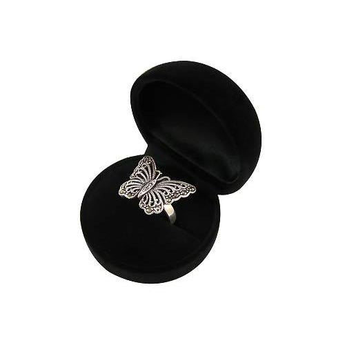 Marcasite and Sterling Silver Large Butterfly Ring