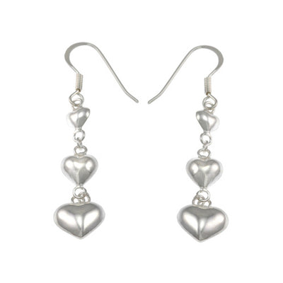 Dangle Style Earrings: Silver Hearts - SilverAndGold.com Silver And Gold
