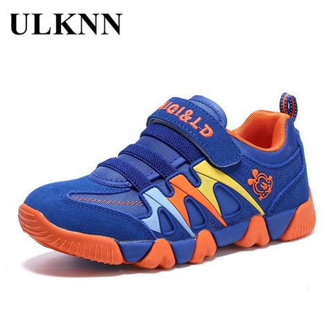 ULKNN Genuine Leather Kids Sport Shoes Children Sneakers For Boys Shoes Girls Spring Autumn Breathable Mesh Striped chaussure