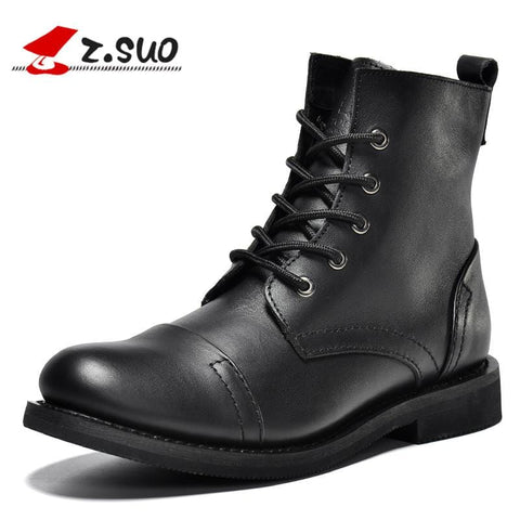 Z.Suo 2018 NEW Ultra-high Quality Men's Boots Genuine Leather Boots Men, Brand Fashion Lace-up Autumn Boots For Man Black Brown