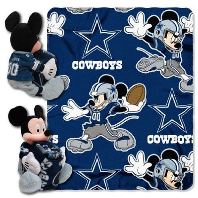 Disney Mickey Mouse NFL Dallas Cowboys Fleece Throw Blanket & Hugger - Personalized