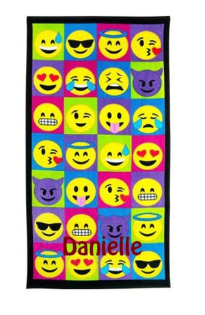 "Large EMOJI emojicon Beach towel Personalized or Monogrammed 30"" x 60"" Personalized Beach Towel"