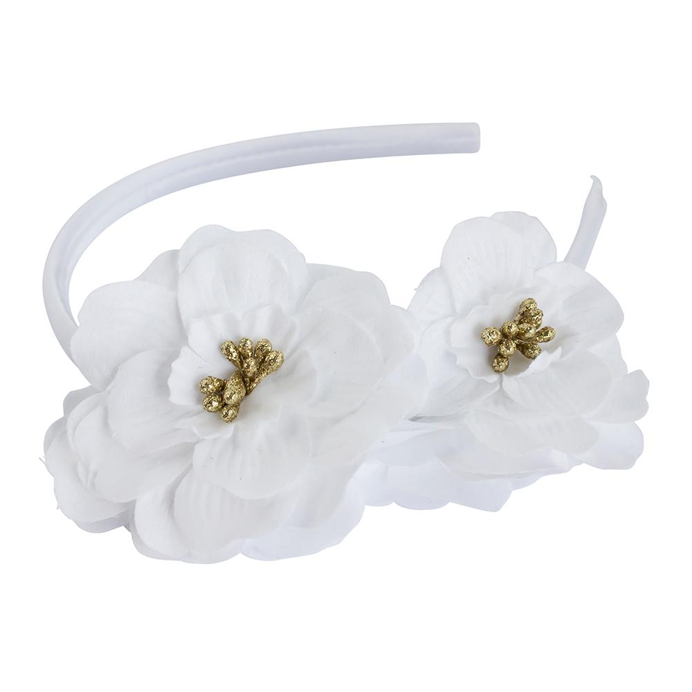 Headband Satin Flower White