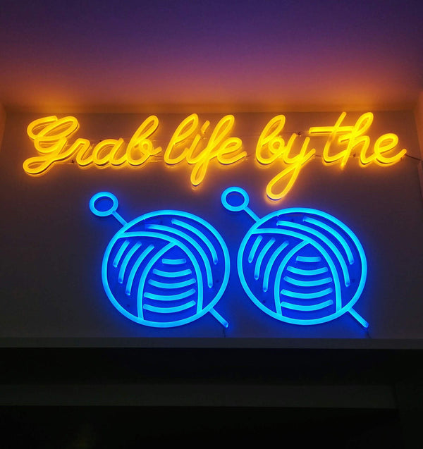 Tribe Yarns Neon Sign Grab Life by the Balls Carpescrotum