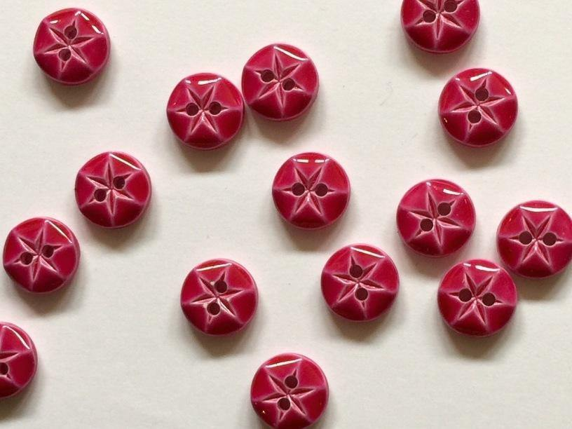 "Glossy Bright Pink 10mm (3/8"") Buttons"