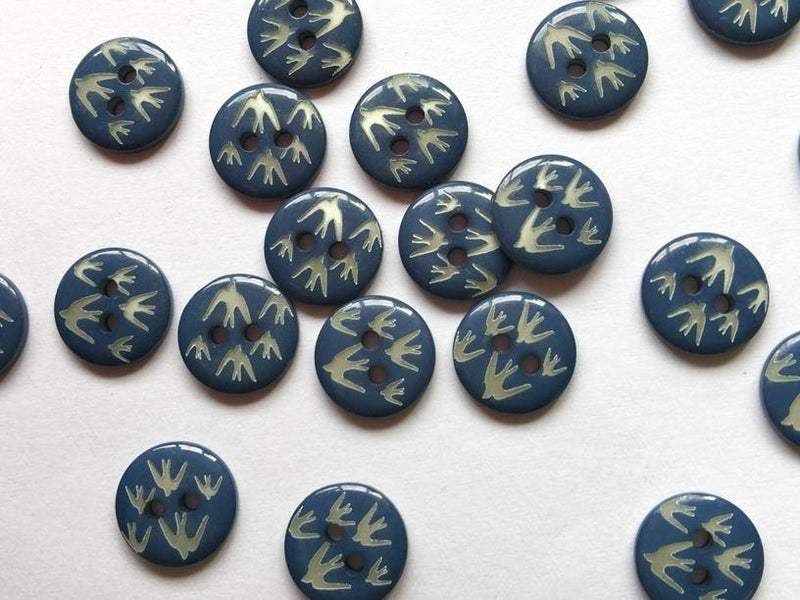"Blue with White Swallows 12mm (½"") Buttons"