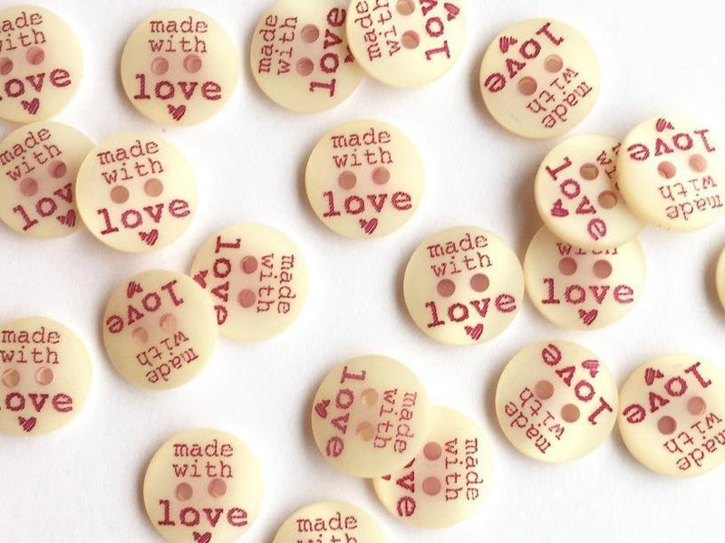 "Made with Love 12mm (½"") Buttons"