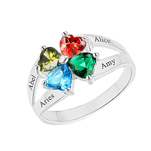 Sterling Silver 4 Heart Birthstones Promise Ring