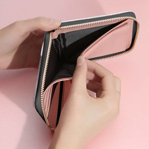 Short Style Full Color Photo Zip Wallet - Black Zip