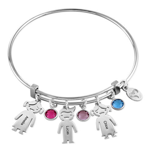 Sterling Silver Children Charms Bracelet with Birthstone 4 Charms