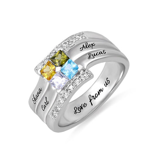 Sterling Silver Square 4 Birthstones Ring