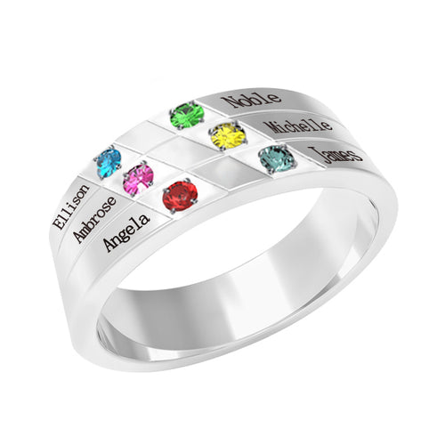 Sterling Silver 6 Birthstones Mothers Ring
