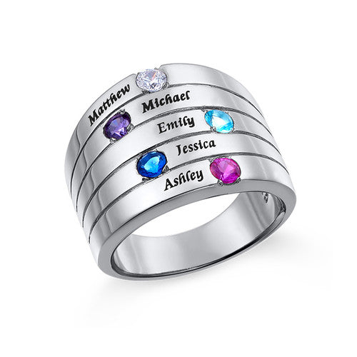 Sterling Silver 5 Birthstones Mothers Ring
