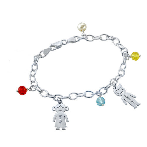 Sterling Silver Mother's Charms Bracelet 3 Charms
