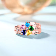 Sterling Silver 5 Heart Birthstones Promise Ring