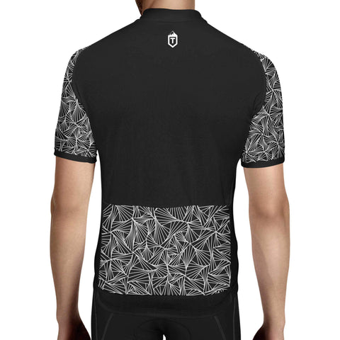 Mens Triangles Jersey - Black / White Rear