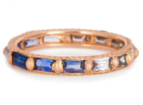 The Ombre Baguette Sapphire to Diamond Ring - PollyW