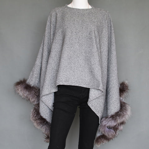 Grey Lightweight Poncho with Silver Fox Fur Trim - paulamarie