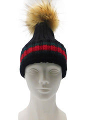 Striped Knitted Beanie with Removable Fur Pom - paulamarie