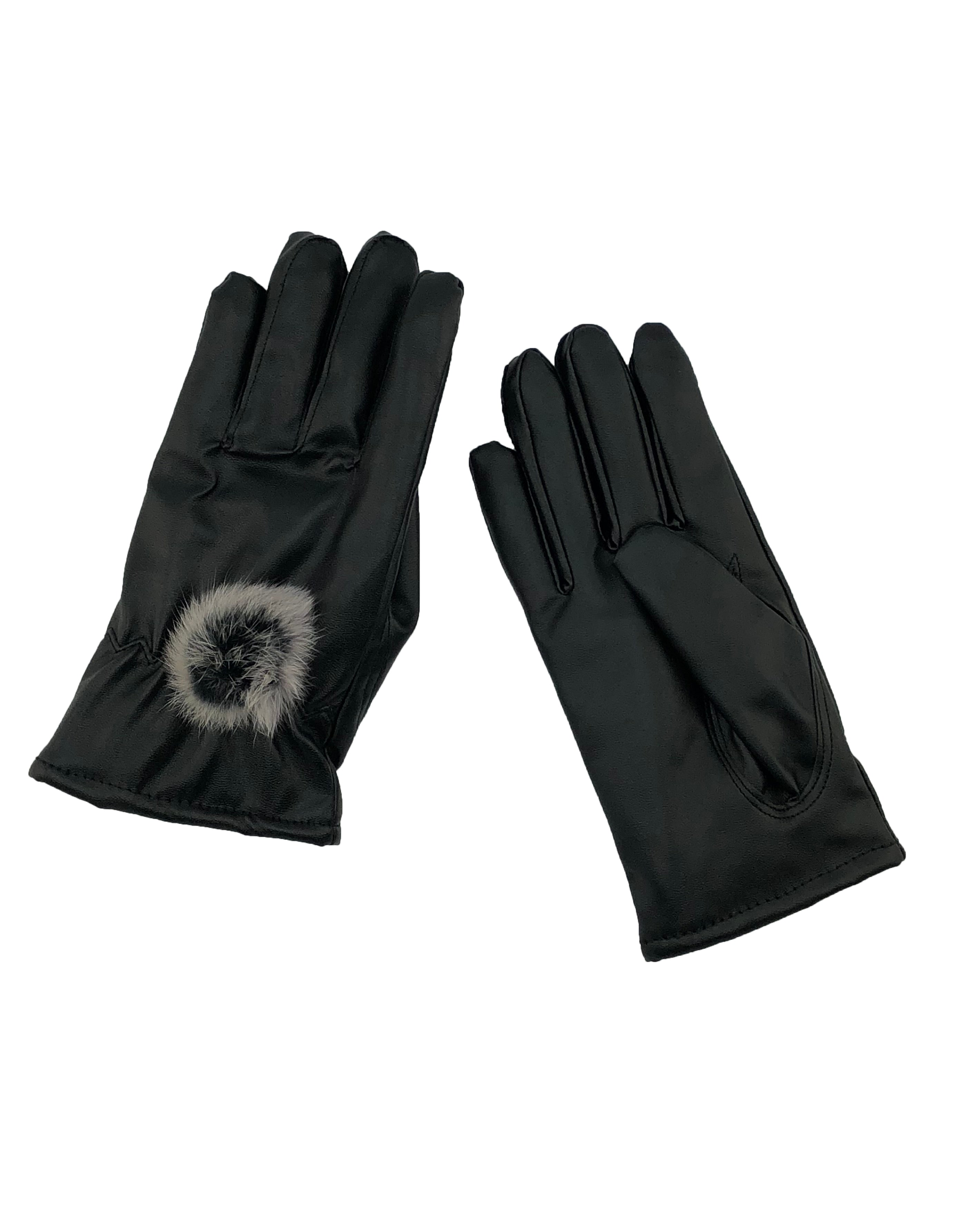 Leather Look Gloves with Fox Fur Pom - paulamarie