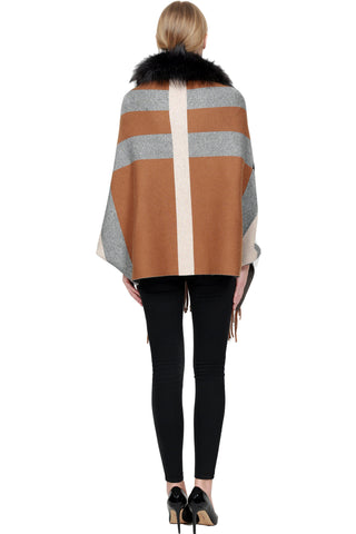 THE ADARE Checkered Cashmere Blend Sleeve Cape with Detachable Silver Fox Trim - paulamarie