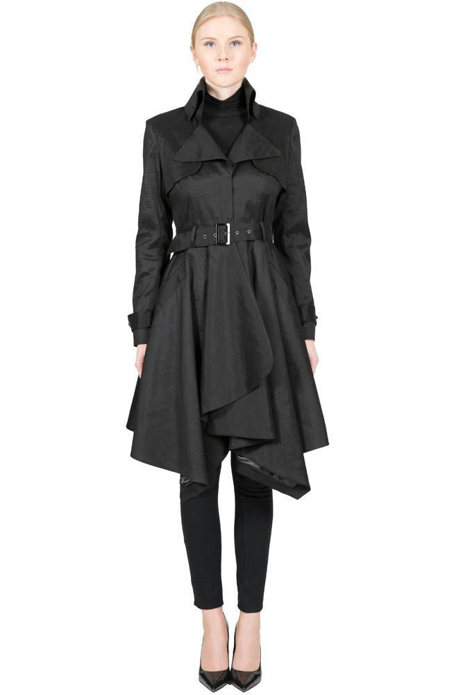 THE LUCKA Microfabric Trench Rain Coat with Waist Belt - paulamarie