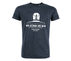 Blue No Scrum No Win rugby t-shirt