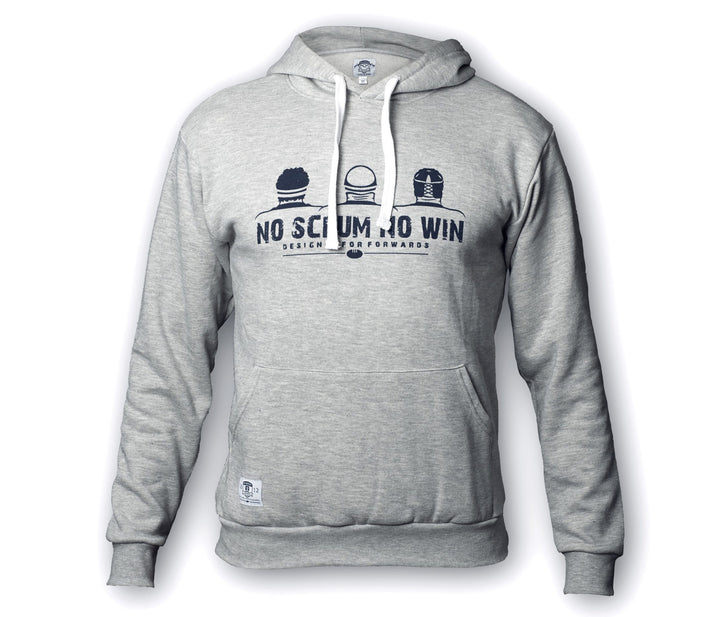 Grey No Scrum No Win rugby hoodie for rugby forwards
