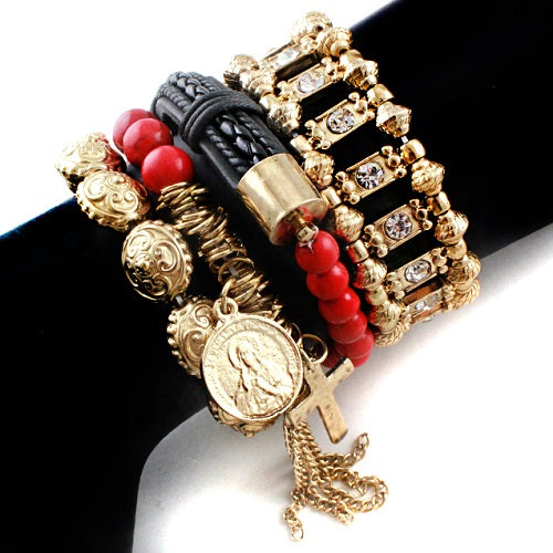 Cross w/ saint bracelet - coral