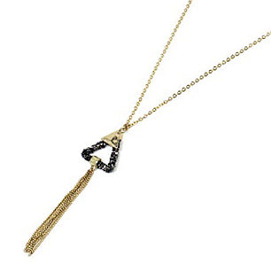 Triangle w/ tassel necklace set - gold