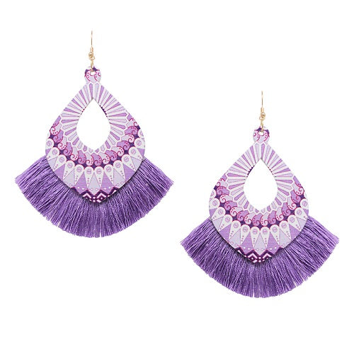 Pattern w/ fan tassel earring - purple