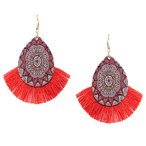 Tear drop w/ tassel earring - red