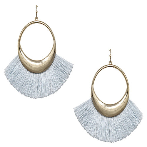 FAN TASSEL EARRING - LIGHT BLUE
