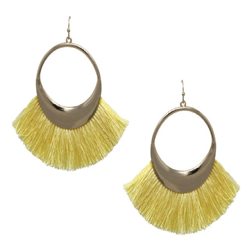 FAN TASSEL EARRING - LIGHT YELLOW