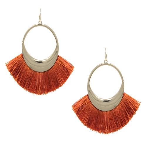 FAN TASSEL EARRING - ORANGE