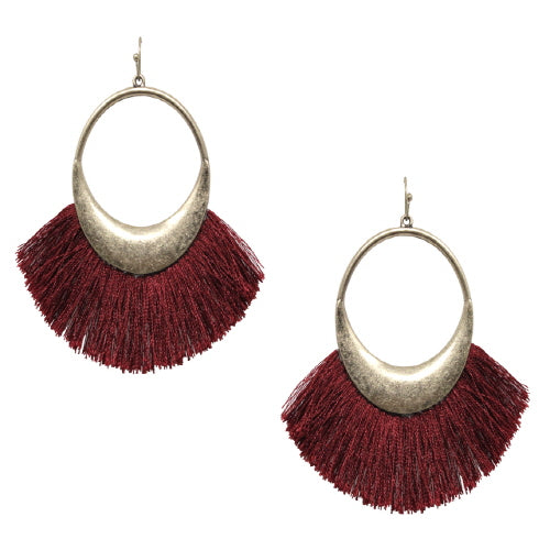 FAN TASSEL EARRING - RED