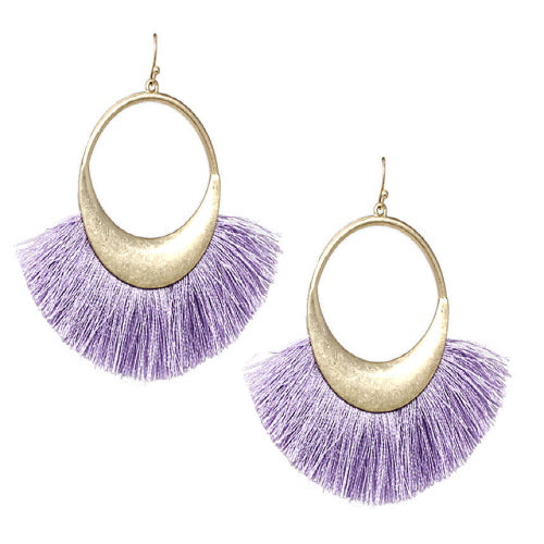 FAN TASSEL EARRING - LAVENDER