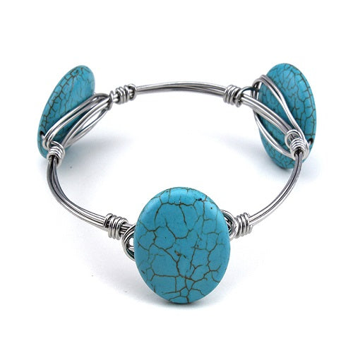 ROUND STONE WIRE BANGLE - turquoise